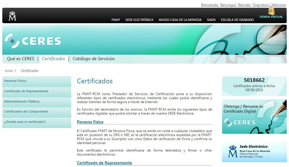 Portal web del proyecto CERES de la Fábrica Nacional de Moneda y Timbre