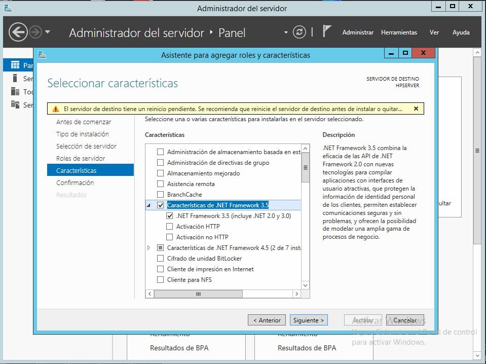 Como agregar caracteristicas en Windows Server 2012 R2 .Net Framework 3.5