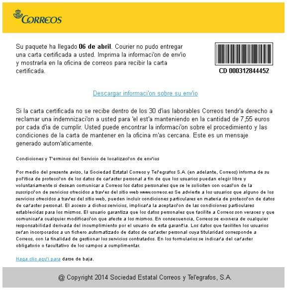 Email que se envía en nombre de Correos España con el virus Cryptolocker