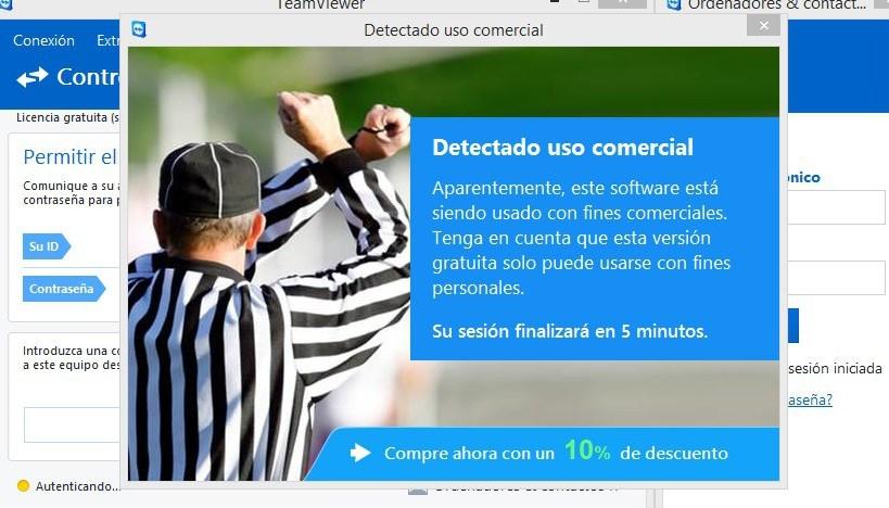 Cómo eliminar mensaje de Teamviewer Detectado uso comercial