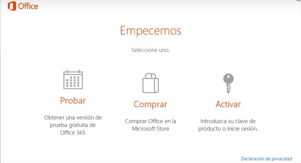 Mensaje de Office 2016 para Probar Comprar o Activar