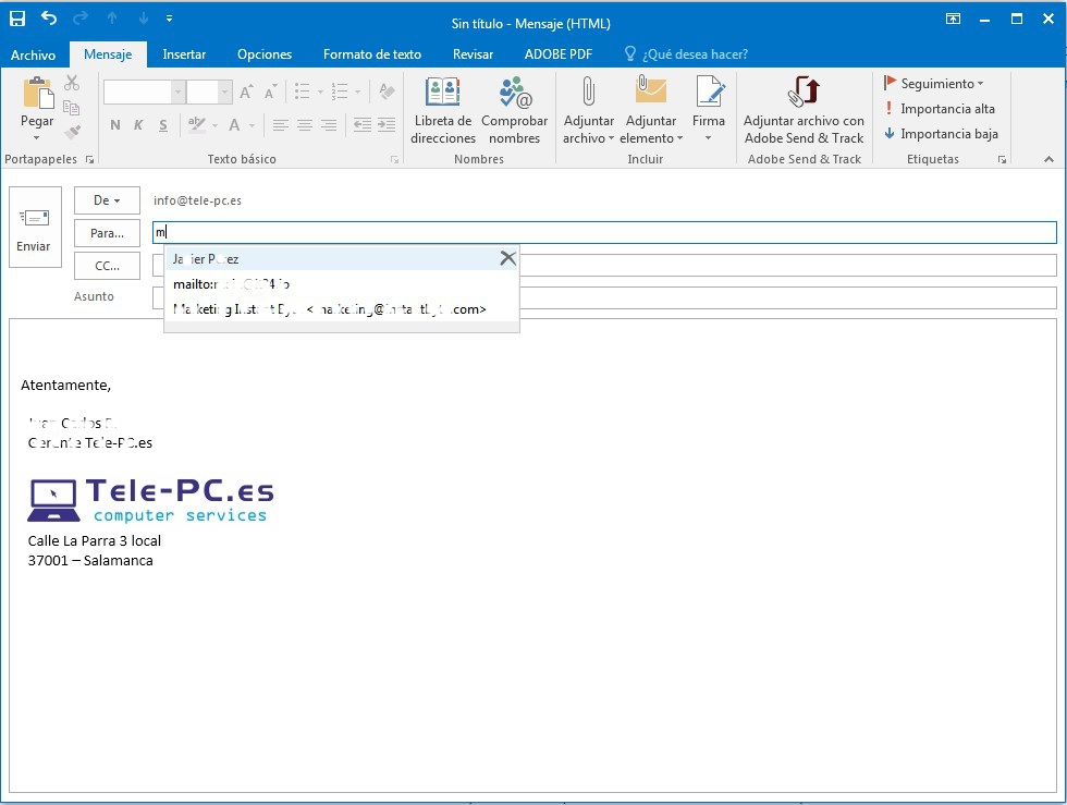 Autocompletar e-mails Microsoft Outlook