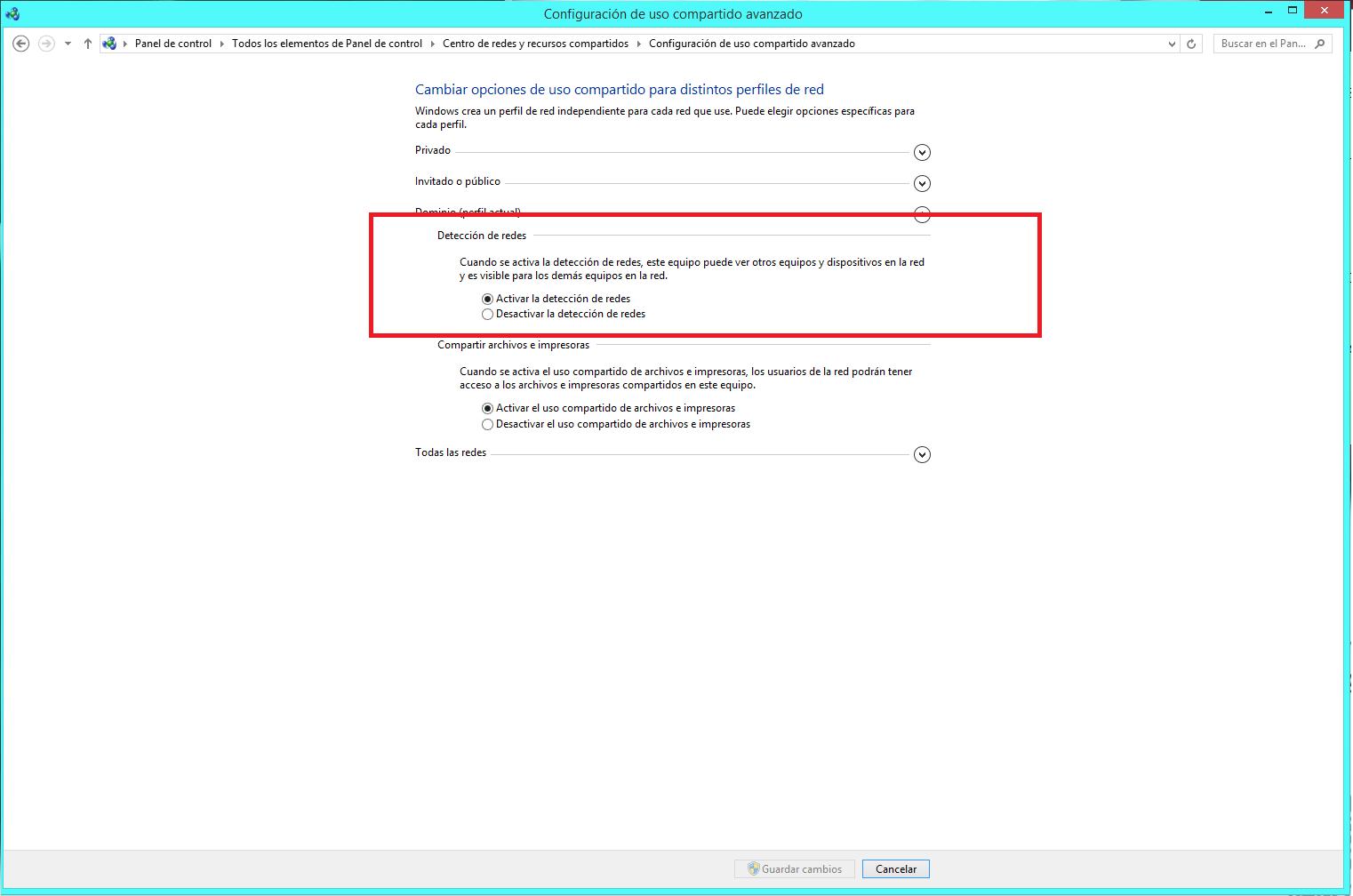 Configuración de uso compartido avanzado en Windows 10