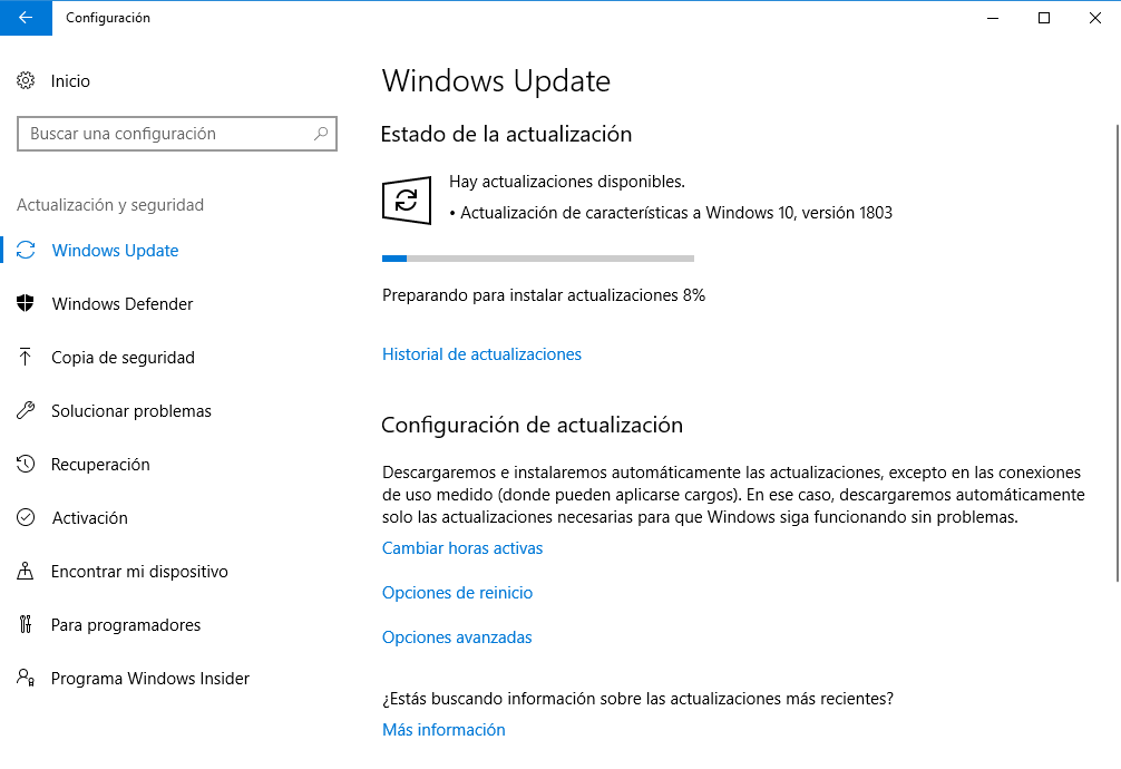Actualización Windows 10 version 1803