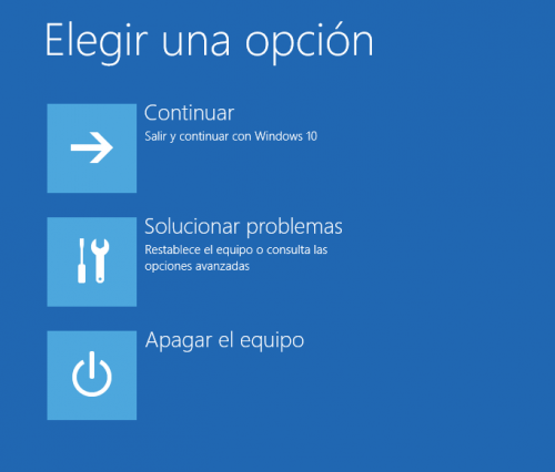 Elegir una opción del Menú de arranque de Windows 10