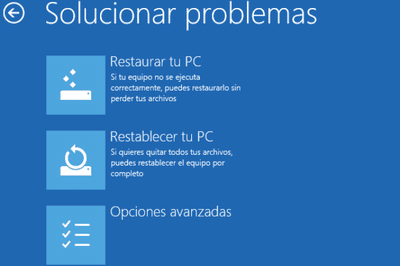 Solucionar problemas inicio Windows 10