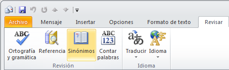 activar sinonimos microsoft office word 2010