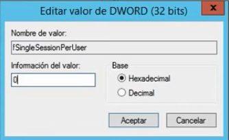 Permitir 2 sesiones del mismo usuario de Escritorio Remoto en Windows Server 2012 R2